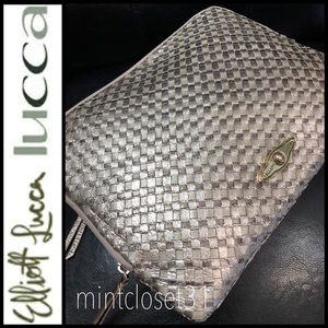 Elliot Lucca Leather Woven Clutch